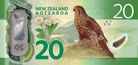 New Zealand banknote 20 dollars 7serie 2016